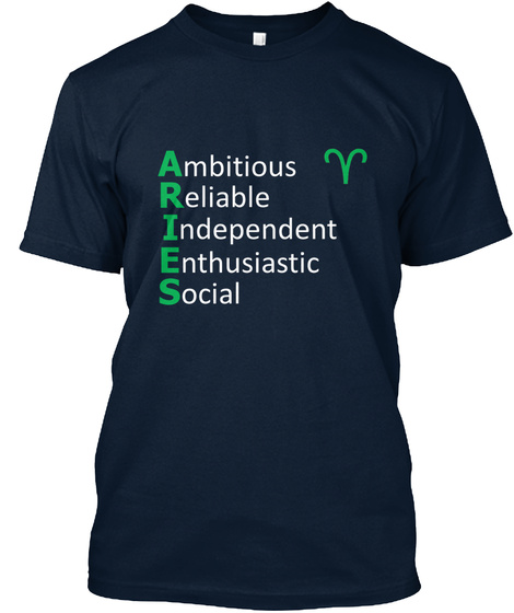 Ambitious Reliable Independent Enthusiastic Social New Navy T-Shirt Front