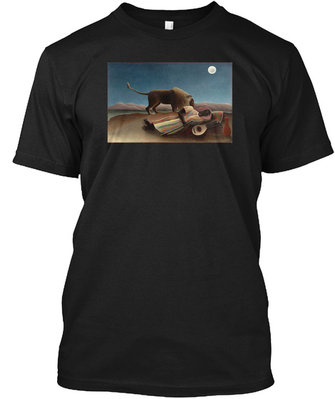 The Sleeping Gypsy, Henry Rousseau Black T-Shirt Front
