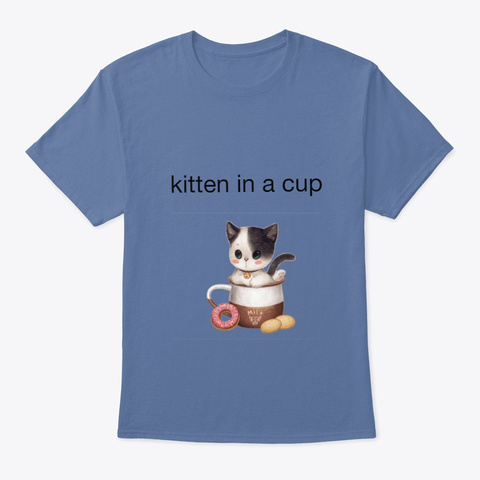 Kitten Cup Denim Blue T-Shirt Front