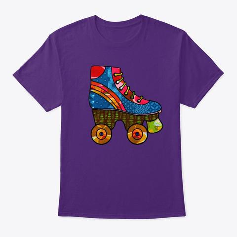 Retro Roller Skate Purple T-Shirt Front