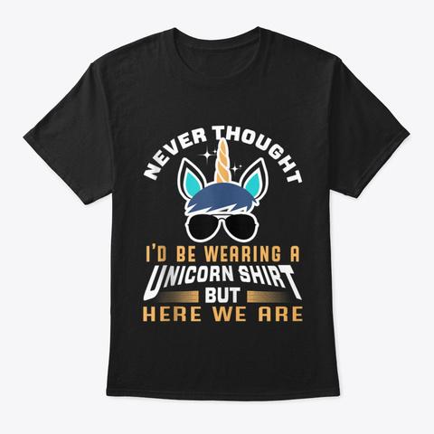 Funny Unicorn Gift For Papa Dad Grandpa Black T-Shirt Front