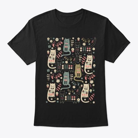 Cat Pattern Holiday T Shirt Black T-Shirt Front