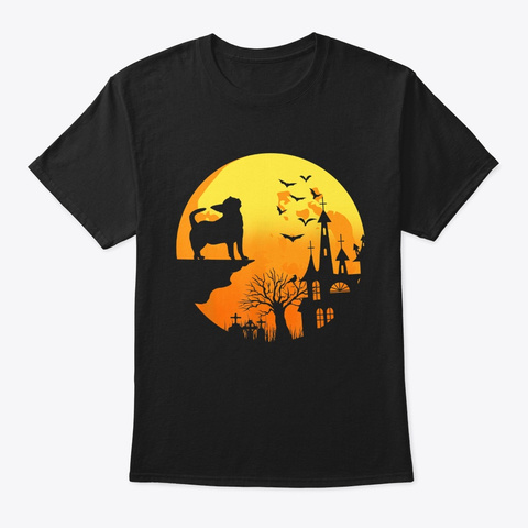 Halloween Chihuahua Dog And Moon Black T-Shirt Front