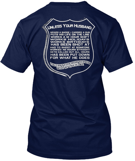 Proud Police Wife T Shirt Navy T-Shirt Back