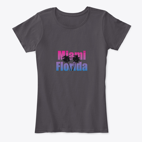 Miami Florida Heathered Charcoal  T-Shirt Front