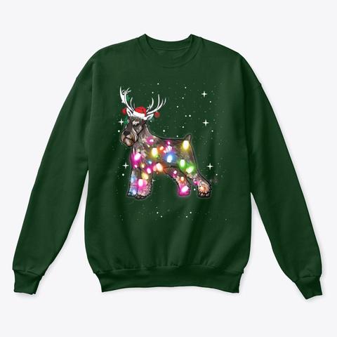 Christmas Lights Standard Schnauzer  Deep Forest  T-Shirt Front