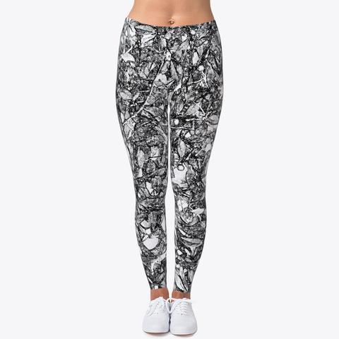 Leaf Scratch Printed Leggings For Women Standard T-Shirt Front