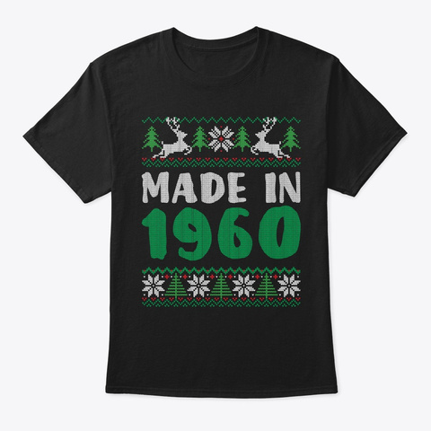 59 Years Old Birthday Christmas 1960 Black T-Shirt Front