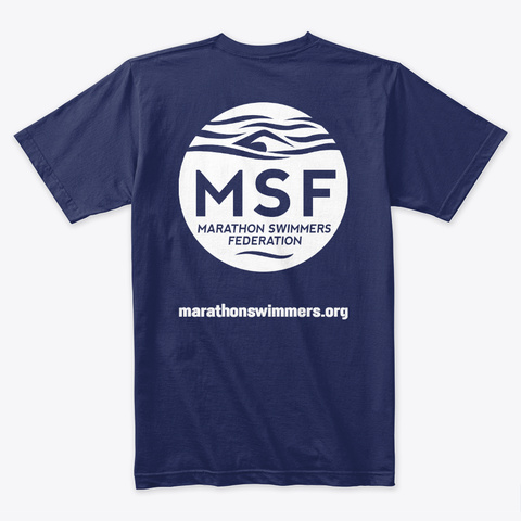 Marathon Swimmers Federation Fall 2018 Midnight Navy T-Shirt Back