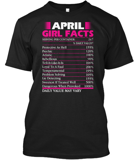 April Girl Facts Serving Per Container Daily Value Protective As Heal  Psychic Rebellious Tell It Like It Is Loyal To... Black T-Shirt Front