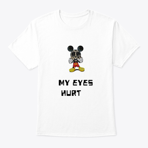 Scared Mickey White T-Shirt Front