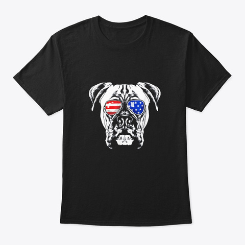 Boxer Dog American Flag  4th Of July Black T-Shirt Front