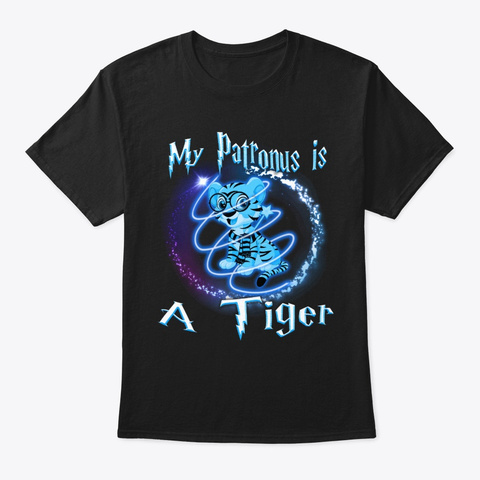 My Patronus Is A Tiger Halloween Black T-Shirt Front