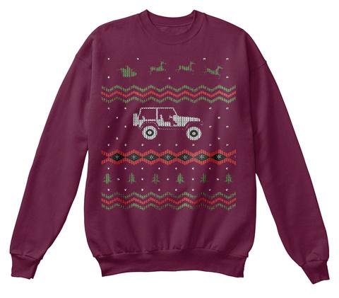 Tj Ugly Christmas Sweatshirt Maroon  T-Shirt Front