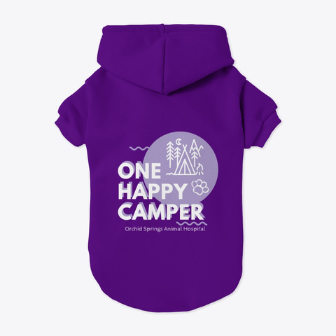 Happy Camper   White Text Purple T-Shirt Back