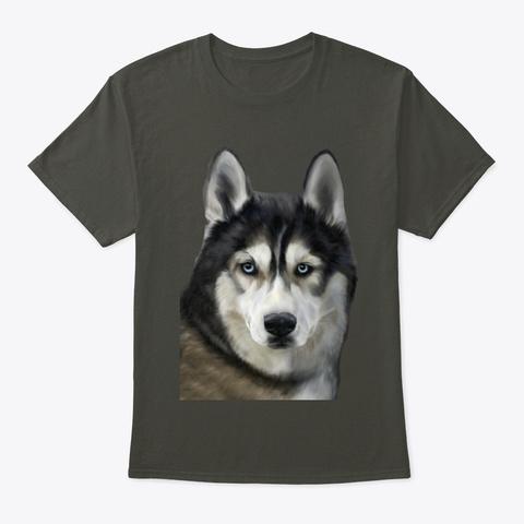 Dog Portrait Illustration Smoke Gray T-Shirt Front