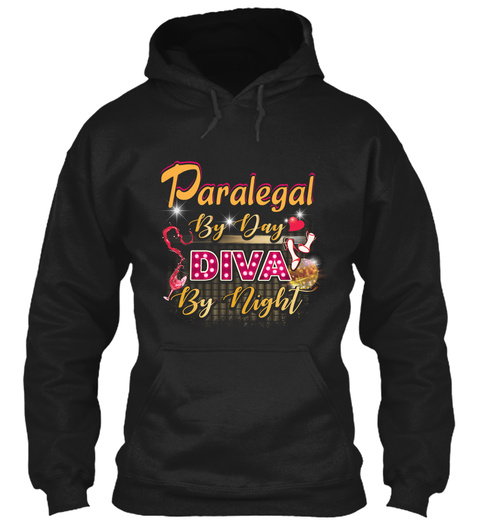 Paralegal By Day Diva By Night Black T-Shirt Front