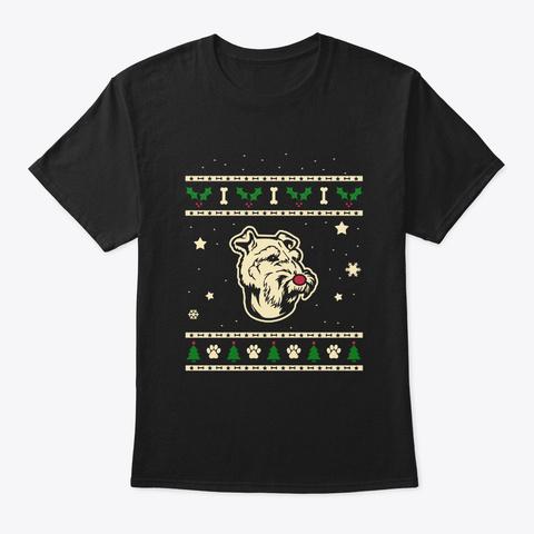 Christmas Welsh Terrier Gift Black T-Shirt Front