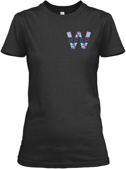 W Kpop Black T-Shirt Front