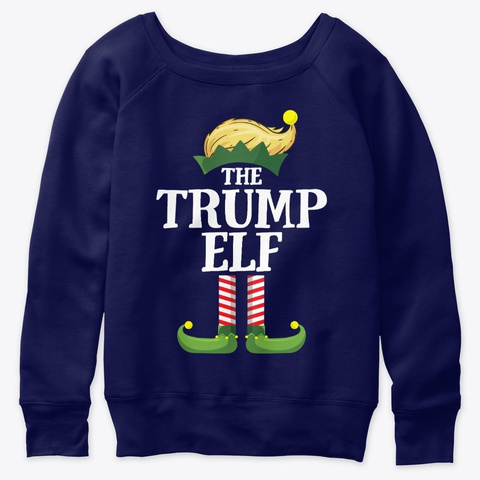 Trump Elf Matching Family Group Christma Navy  T-Shirt Front