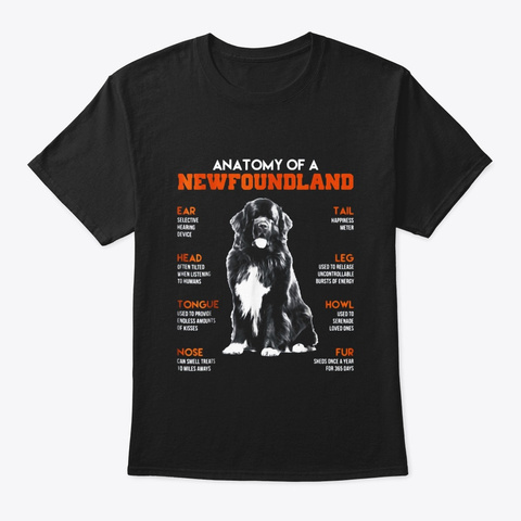 Anatomy Of A Newfoundland Dogs Funny Black T-Shirt Front