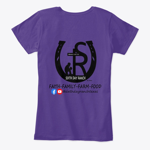 Sixth Day Ranch Gear Purple T-Shirt Back