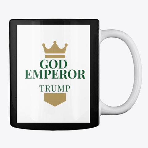 God Emperor Trump Black Mug Back