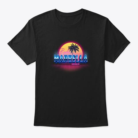 Radio Marbella Retro Tropical Black T-Shirt Front