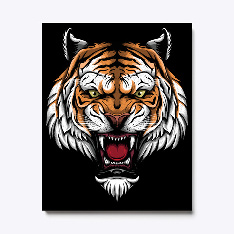 Tiger Head Luxury Canvas Black T-Shirt Front