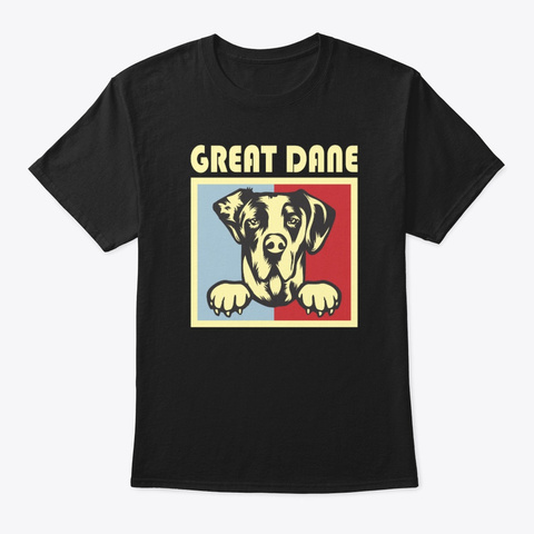Great Dane Retro Vintage Shirt Black T-Shirt Front