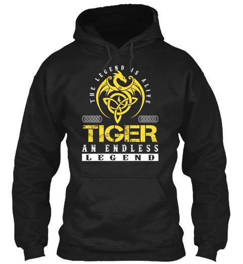 The Legend Is Alive Tiger An Endless Legend Black T-Shirt Front