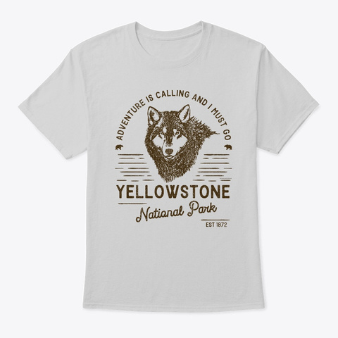 Yellowstone National Park Wolf Light Steel T-Shirt Front