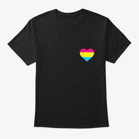 Pansexual Flag Shirt Lgbt Love Heart Black T-Shirt Front