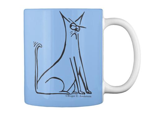 Cat Mug Powder Blue T-Shirt Back