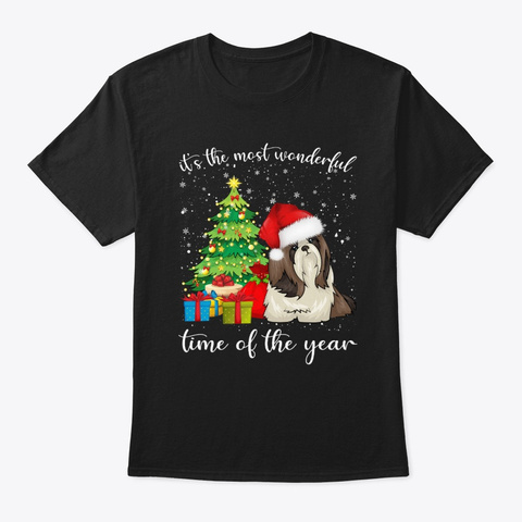 Shih Tzu With Christmas Tree Tshirt Black T-Shirt Front