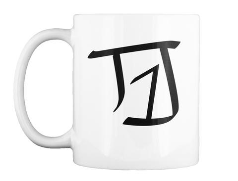 T1 J White Mug Front