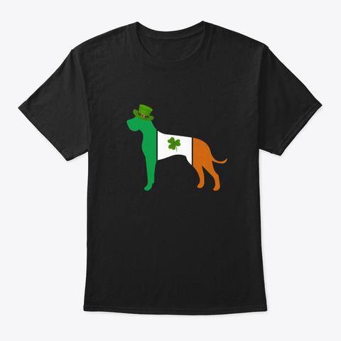Great Dane St Patricks Day Shirts Black T-Shirt Front