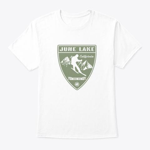 Ski June Lake California White T-Shirt Front