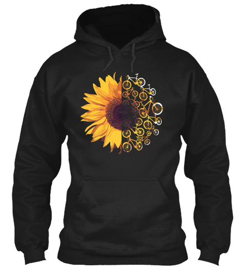 Sunflower Bike Funny Riding Bicycle Gift Black T-Shirt Front