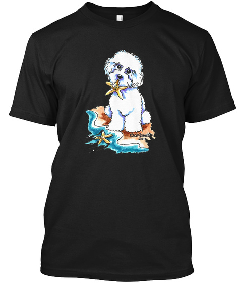 Beach Babe Bichon Black T-Shirt Front