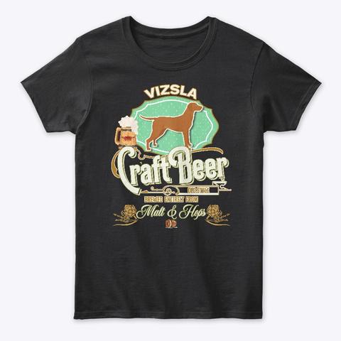 Vizsla Gifts Dog Beer Lover Black T-Shirt Front