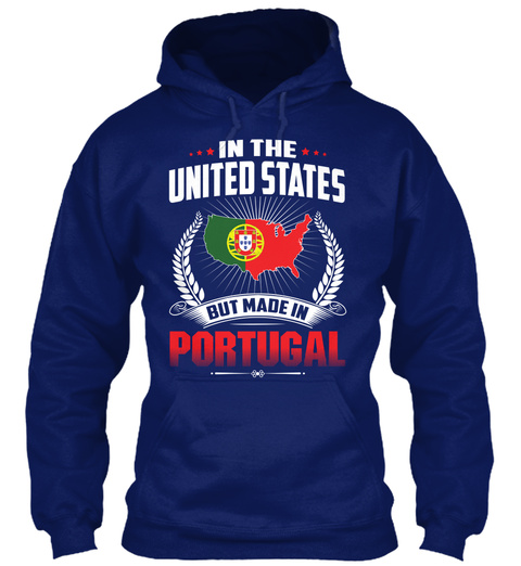 In The United States But Made In Portugal Oxford Navy T-Shirt Front