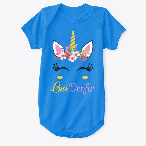 One Derful Unicorn 1st Birthday Shirt Royal T Front