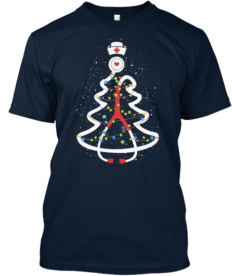 Nurse Christmas Tree Stethoscope New Navy T-Shirt Front