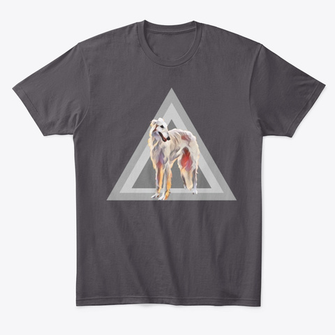Borzoi Russian Wolfhound Dog In Triangle Heathered Charcoal  T-Shirt Front