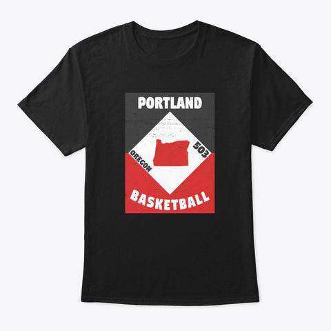 Portland Basketball Vintage Black T-Shirt Front