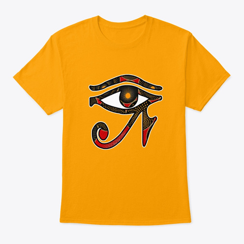 African Print Egyptian Eye Eye Of Horus  Gold T-Shirt Front