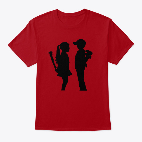 Banksy Boy Meets Girl Deep Red T-Shirt Front
