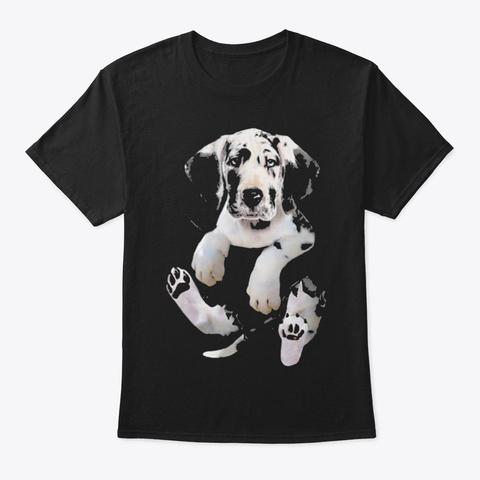 Harlequin Great Dane Inside Pocket Funny Black T-Shirt Front