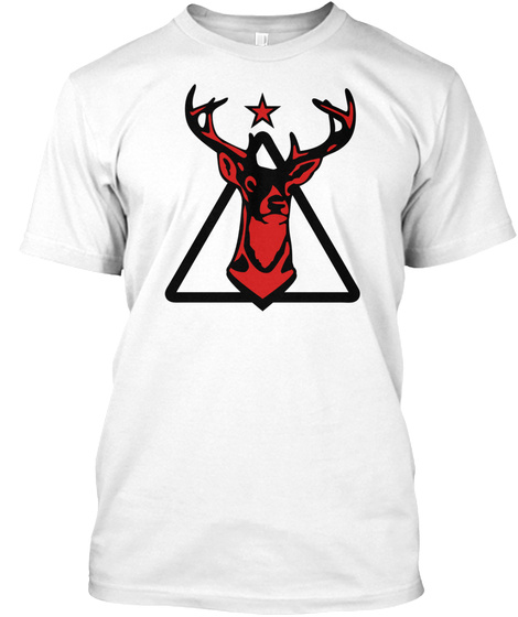05 Deer Wild Triangle Geek Hipster Nerd  White T-Shirt Front